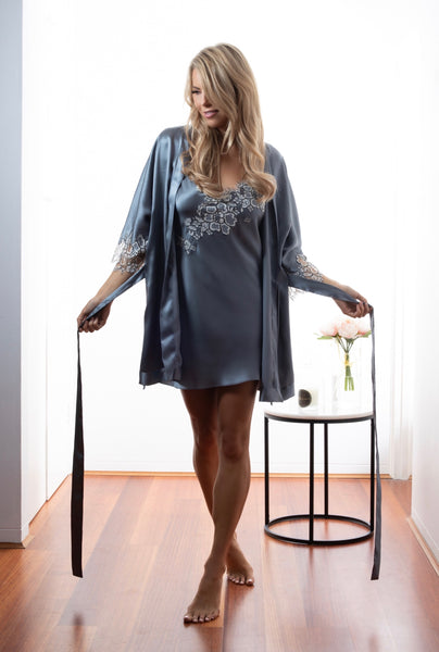 Womens Bridal kimono robe chemise, Dusk Silk Satin, French Lace, front view luxury sleepwear