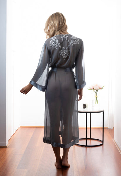 Ladies Silk Robe, Dusk Georgette, French Lace, front view luxury sleepwear