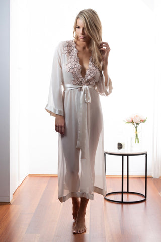 Ladies Silk Robe, Dawn Georgette, French Lace, front view luxury loungewear