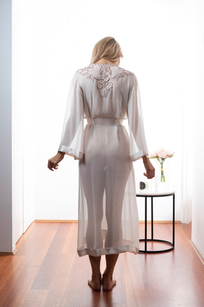 Ladies Silk Robe, Dawn Georgette, French Lace, back view luxury sleepwear