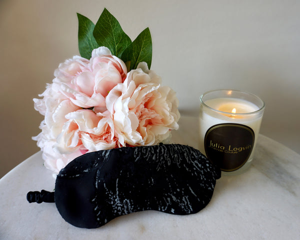 Satin Devorè Sleep Mask, Black Poppy