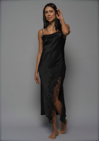 Ladies Silk Nightgown, Black Silk Satin with French Lace, front view luxury loungewear