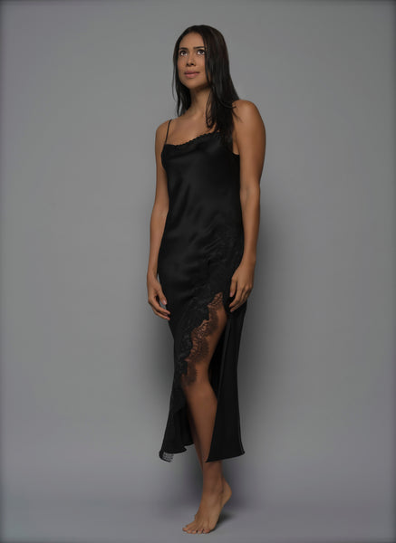 Womens Silk Night dress, Black Silk Satin with French Lace, side view luxury lingerie