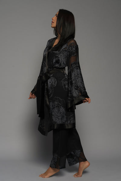 Womens luxury loungewear, silk kimono robe pyjamas, black lingerie side