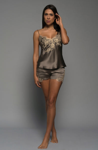 Ladies luxury lingerie, silk satin, gold  french lace, shorts cami, loungewear