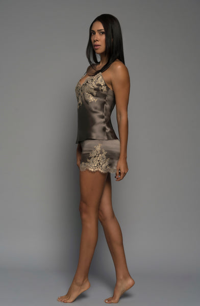 Luxury intimate apparel, silk satin, gold french lace, cami shorts, loungewear, side