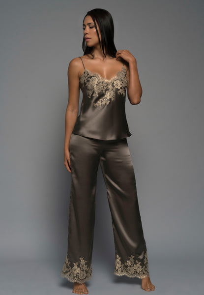Ladies luxury pyjamas, silk satin, gold french lace, cami pants, loungewear, front