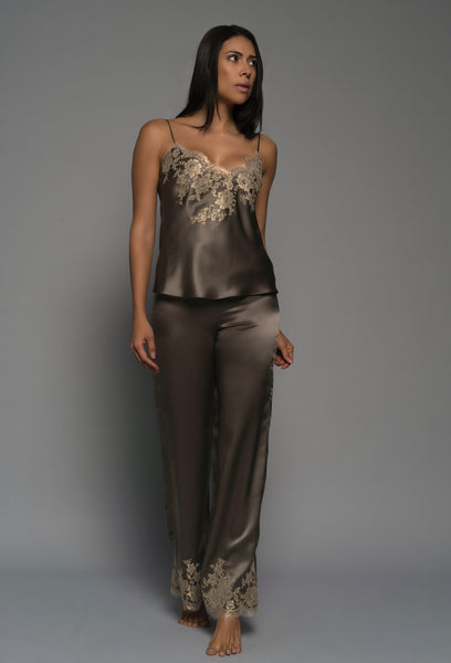Womens luxury lingerie, silk satin, gold french lace, cami pants, sleepwear, front