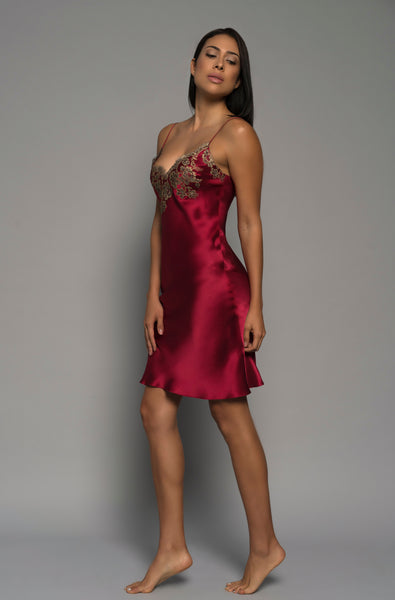Ladies luxury lingerie, red silk satin, gold french lace, chemise slip, sleepwear, side dress