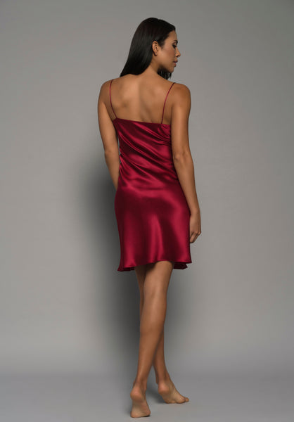 Ladies bespoke lingerie, red silk satin, gold french lace, chemise slip, loungewear, back dress