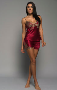 Ladies luxury lingerie, red silk satin, gold french lace, cami shorts, loungewear, front