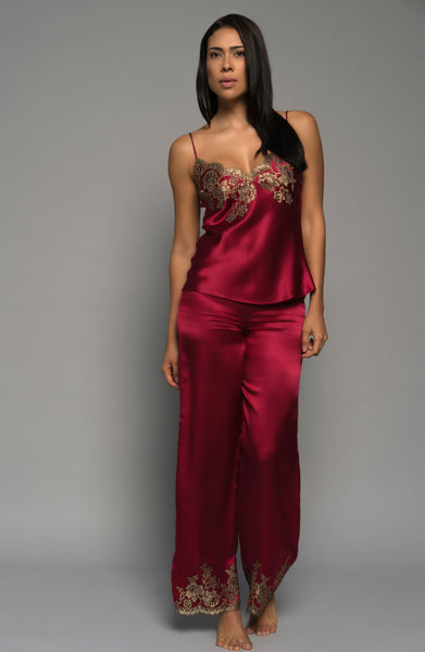 Ladies Silk Cami, Red Satin French Lace, front view luxury loungewear