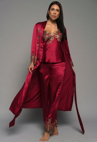 Luxury loungewear, red silk satin, robe pyjamas lingerie for women