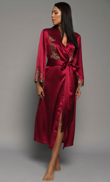Womens Long Robe, Red Silk Satin French Lace, front view luxury lingerie