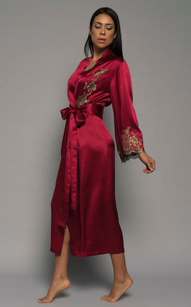 Womens Long Robe, Red Silk Satin French Lace, side view luxury loungewear