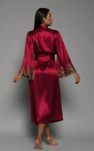 Ladies Silk Robe, Red Satin French Lace, back view luxury loungewear