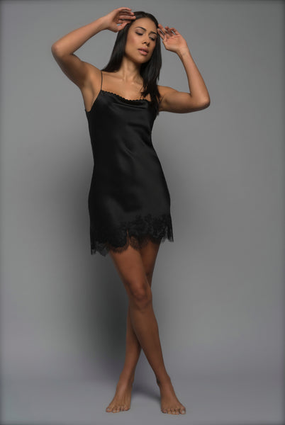 Ladies Silk Chemise, Black Silk Satin, front view luxury lingerie