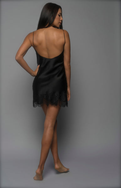 Ladies Silk Slip, Black Silk Satin, back view luxury sleepwear