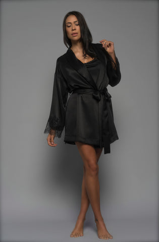 Womens Kimono Robe, Black Silk Satin, front view luxury sleepwear