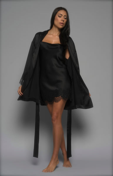 Womens Silk Robe & Chemise, Black Silk Satin, front view luxury loungewear