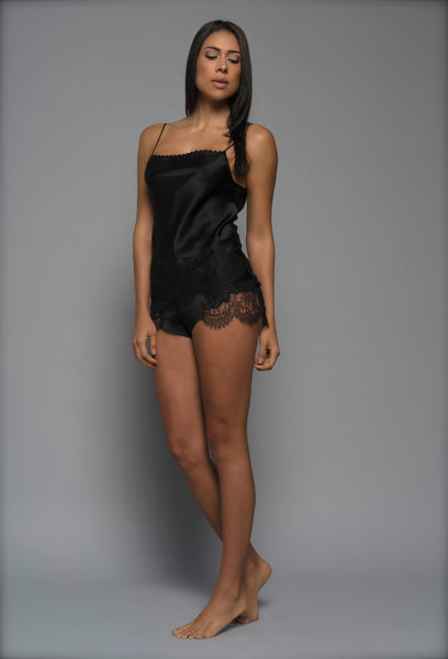 Ladies Silk Shorts, Black Silk Satin French Lace, front view luxury loungewear