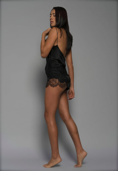Womens Silk Shorts, Black Silk Satin French Lace, side view luxury lingerie