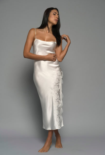 Womens Bridal Night dress, Ivory Silk Satin, front view luxury loungewear