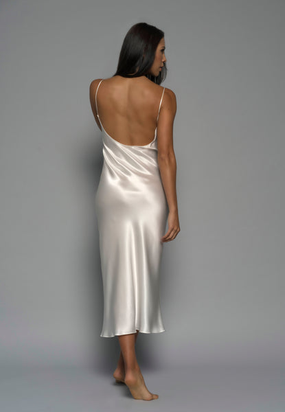 Womens bridal slip dress, Ivory Silk Satin, back view luxury sleepwear