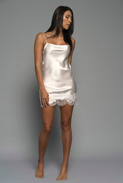 Womens Bridal Chemise, Ivory Silk Satin, front view luxury sleepwear