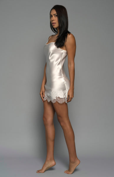 Womens Bridal Chemise, Ivory Silk Satin, side view luxury lingerie