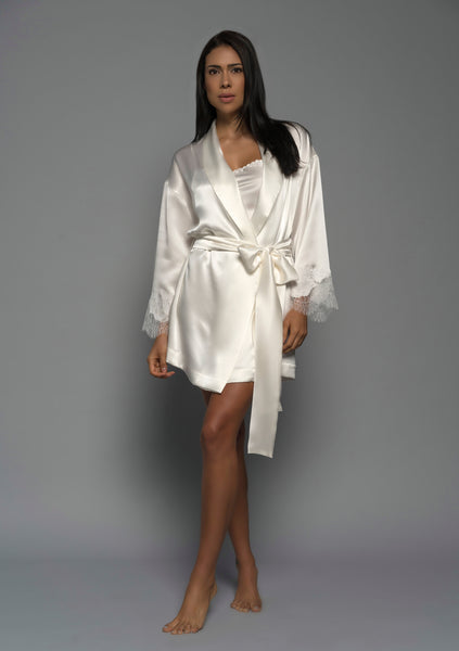 Womens Bridal Kimono Robe, Ivory Silk Satin French Lace, front view luxury sleepwear