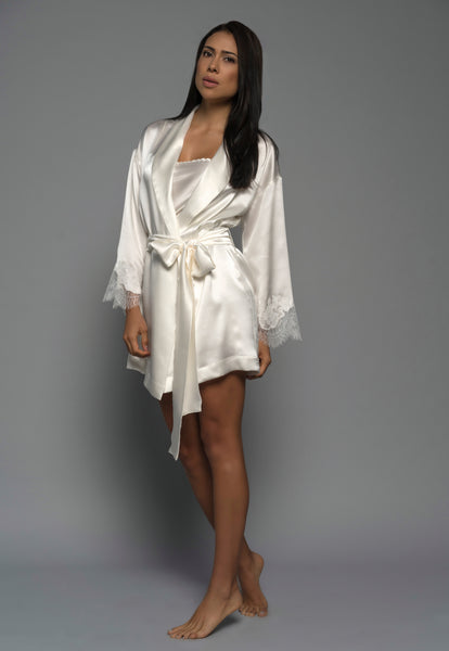 Womens Bridal Kimono Robe, Ivory Silk Satin French Lace, side view luxury lingerie
