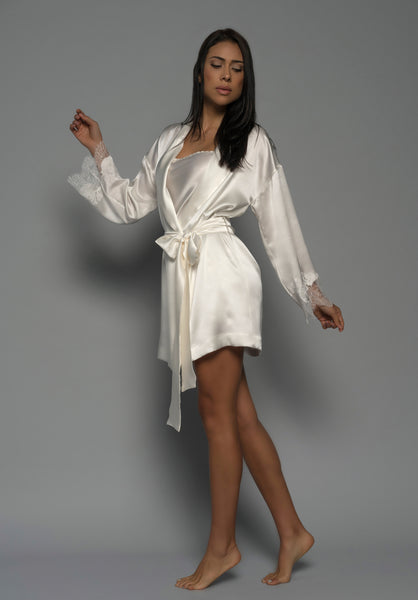 Allurè Silk Robe, Light Ivory - julia-logvin-couture