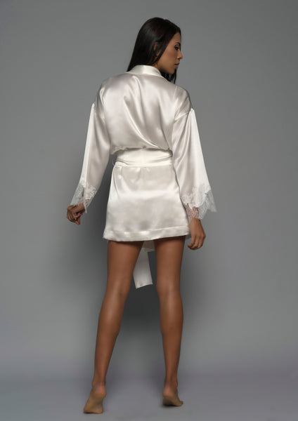 Ladies Bridal Kimono Robe, Ivory Silk Satin French Lace, Back view luxury loungewear