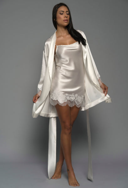 Bridal Kimono Robe & Chemise, Ivory Silk Satin French Lace, front view luxury lingerie
