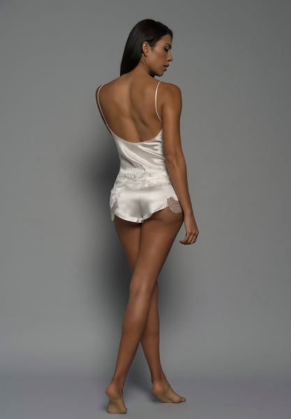 Ladies Silk Camisole, Ivory Silk Satin, back view bridal luxury lingerie