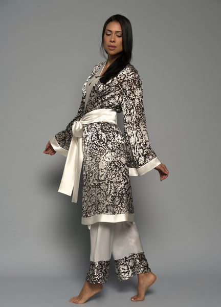 Womens luxury sleepwear, silk kimono robe pyjamas, ivory lingerie side