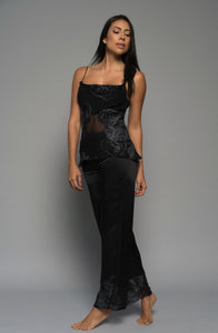 Ladies luxury loungewear, intimate apparel, silk pyjamas pants camisole, black, lingerie front