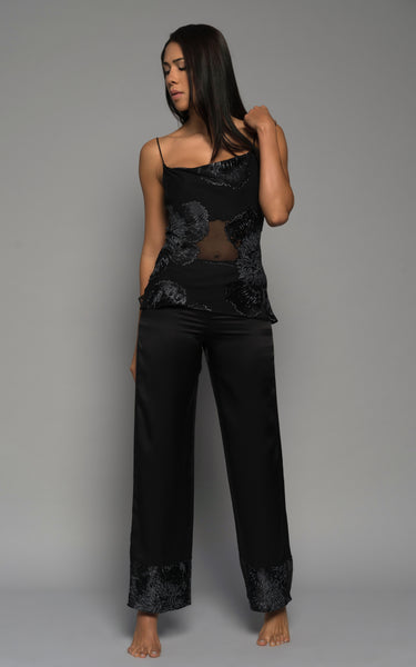 Womens silk satin pyjama pants, Italian silk print camisole luxury lingerie loungewear, black