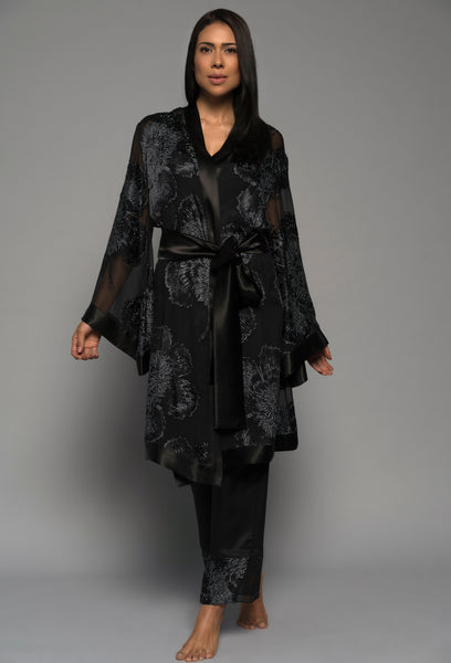 Womens luxury sleepwear, silk pyjamas pants kimono robe, black lingerie front