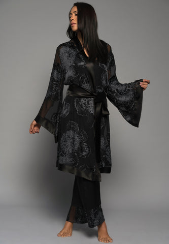 Ladies luxury loungewear, silk pyjamas pants kimono robe, black lingerie front