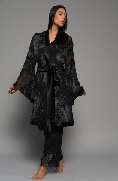 Womens luxury loungewear, silk kimono robe pyjamas, black lingerie front