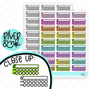 Medication AM/PM Tracker | Hand Lettered Planner Stickers
