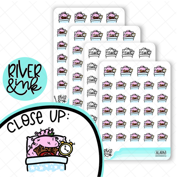 Alarm Early Morning Planner Characters | Hand Drawn Planner Stickers