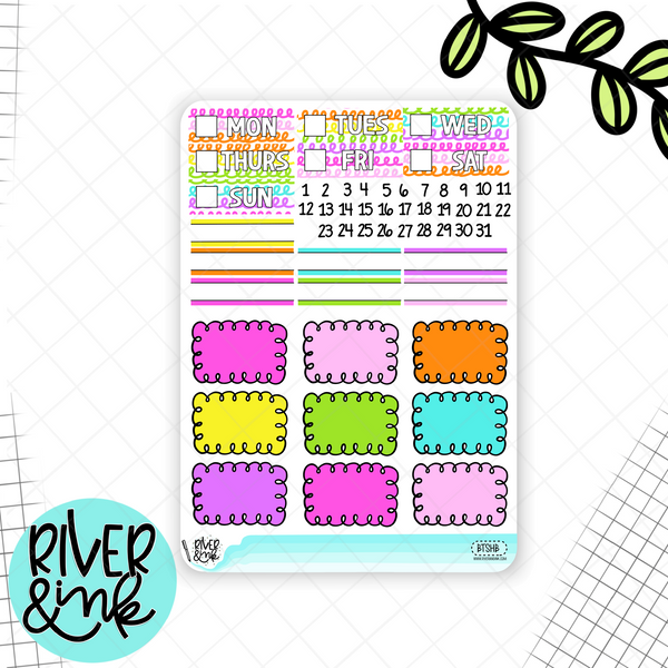 Back To School Weekly Vertical Planner Stickers Kit | Planner Stickers