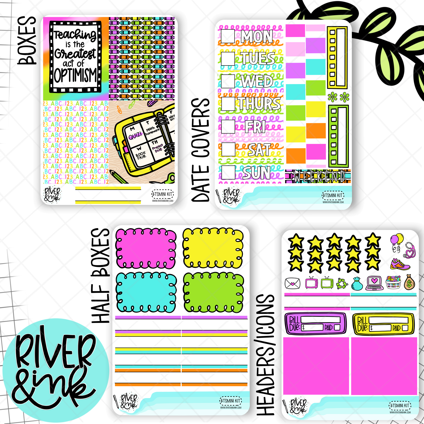 Back to School | Mini Weekly Planner Stickers Kit