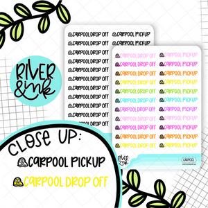 Carpool Pick Up/Drop Off | Hand Lettered Planner Stickers