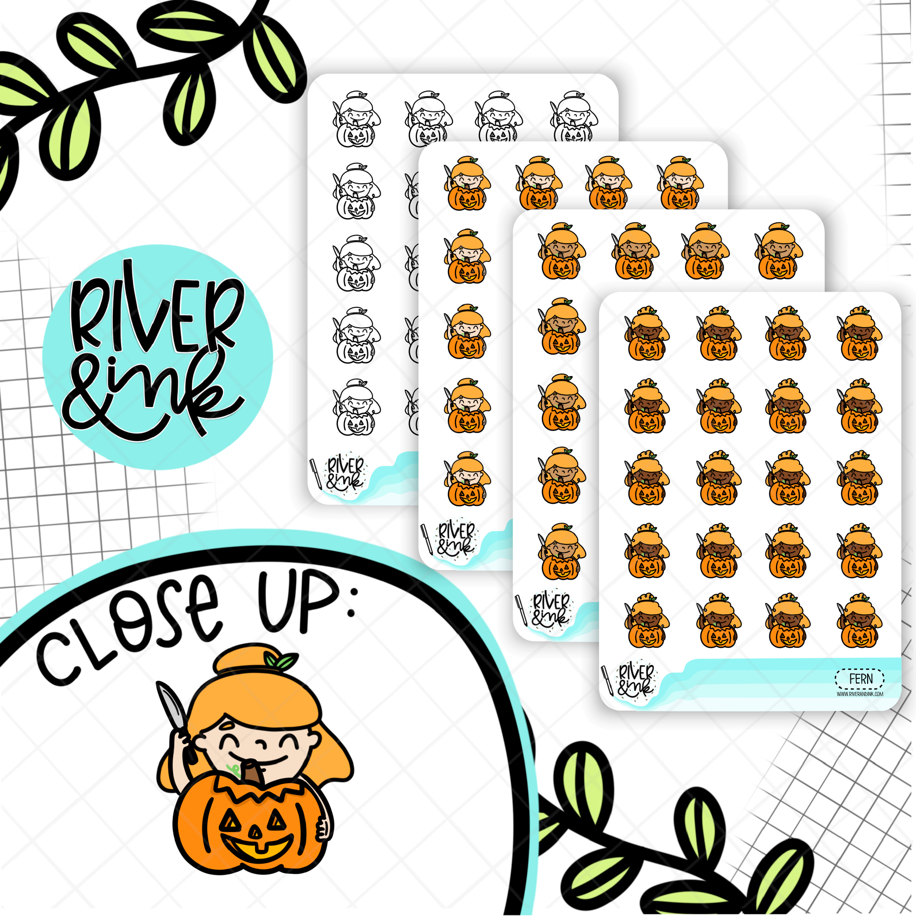 Carve Pumpkin Planner Characters | Hand Drawn Planner Stickers