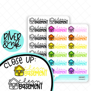 Clean Basement | Hand Lettered Planner Stickers