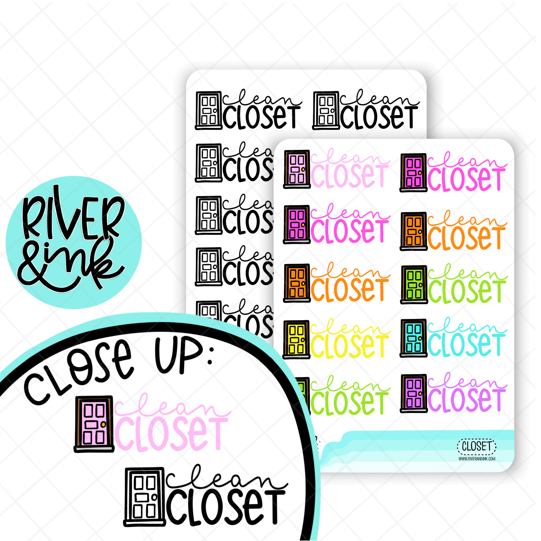 Clean Closet | Hand Lettered Planner Stickers